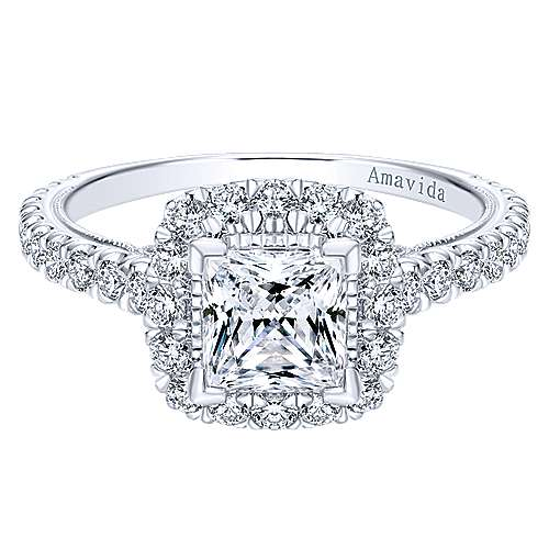 Compassion 18k White Gold Princess Cut Halo Engagement Ring angle 1