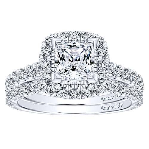 Compassion 18k White Gold Princess Cut Halo Engagement Ring angle 4