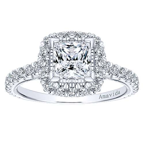 Compassion 18k White Gold Princess Cut Halo Engagement Ring angle 5