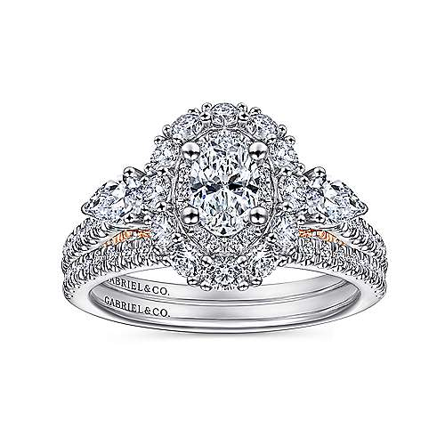 Complete 14K White-Rose Gold Oval Three Stone Double Halo Diamond Engagement Ring
