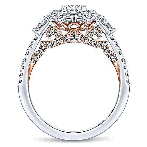 Complete 14K White-Rose Gold Round Three Stone Double Halo Diamond Engagement Ring