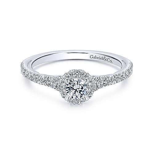 Gabriel - Coney 14k White Gold Round Halo Engagement Ring