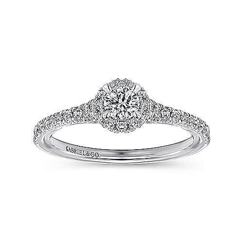 Coney 14k White Gold Round Halo Engagement Ring angle 5