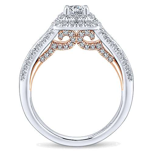 Confidence 14k White And Rose Gold Round Double Halo Engagement Ring angle 2