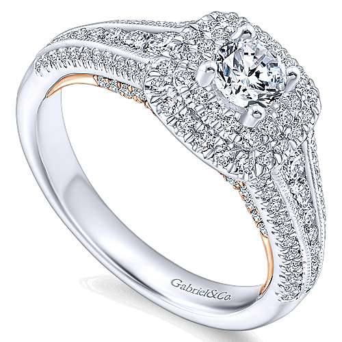 Confidence 14k White And Rose Gold Round Double Halo Engagement Ring angle 3
