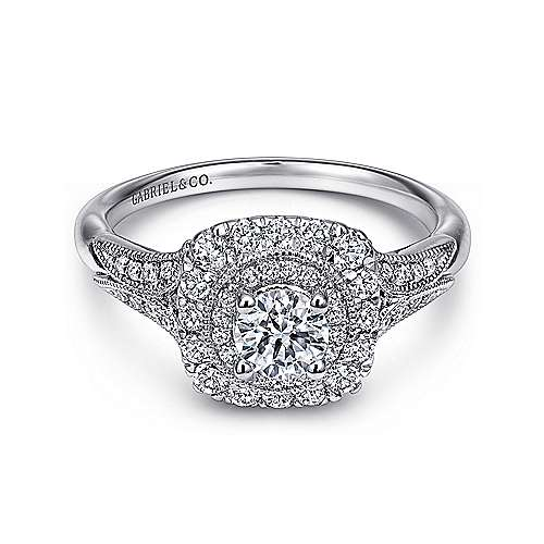 Connor 14k White Gold Round Double Halo Engagement Ring angle 1