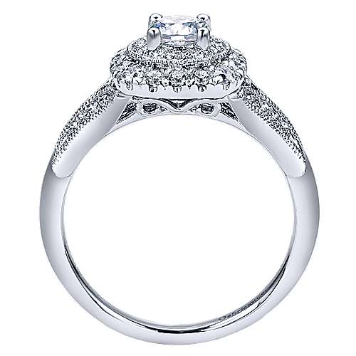 Connor 14k White Gold Round Double Halo Engagement Ring angle 2