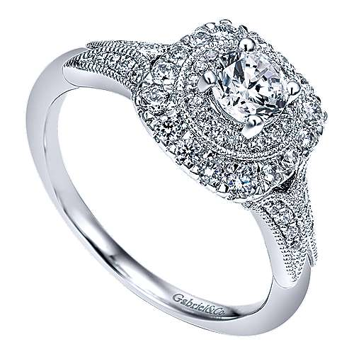 Connor 14k White Gold Round Double Halo Engagement Ring angle 3