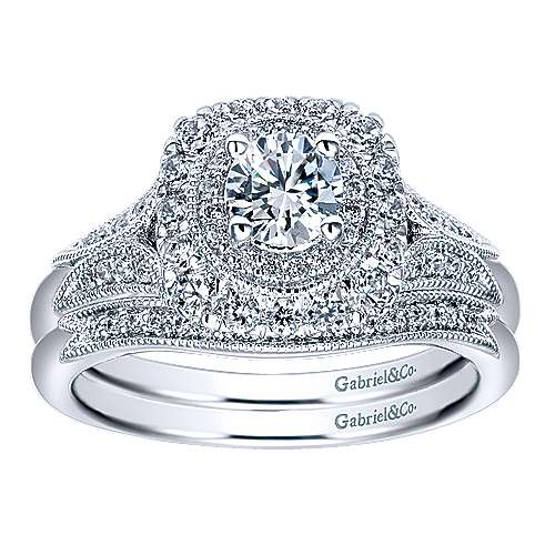 Connor 14k White Gold Round Double Halo Engagement Ring angle 4
