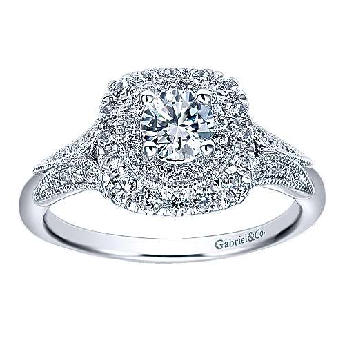 Connor 14k White Gold Round Double Halo Engagement Ring angle 5
