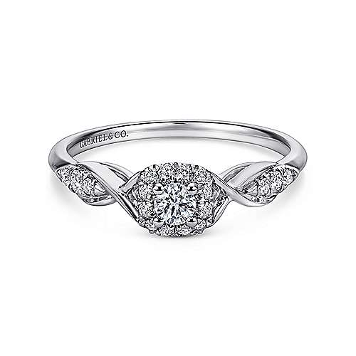 Cooper 14k White Gold Round Halo Engagement Ring angle 1