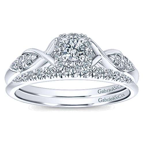 Cooper 14k White Gold Round Halo Engagement Ring angle 4