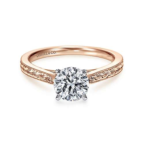 Gabriel - Cora 14k White And Rose Gold Round Straight Engagement Ring