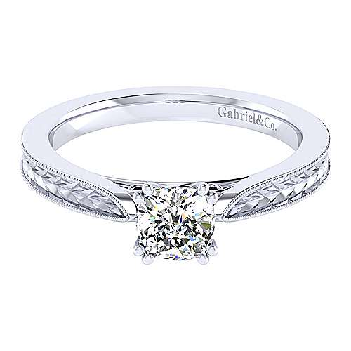 Cora 14k White Gold Cushion Cut Straight Engagement Ring angle 1