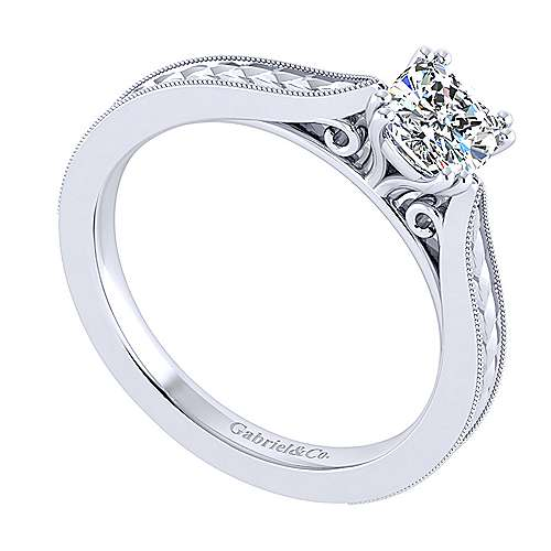 Cora 14k White Gold Cushion Cut Straight Engagement Ring angle 3