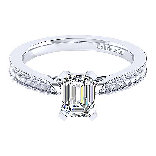 Gabriel - Cora 14k White Gold Emerald Cut Straight Engagement Ring
