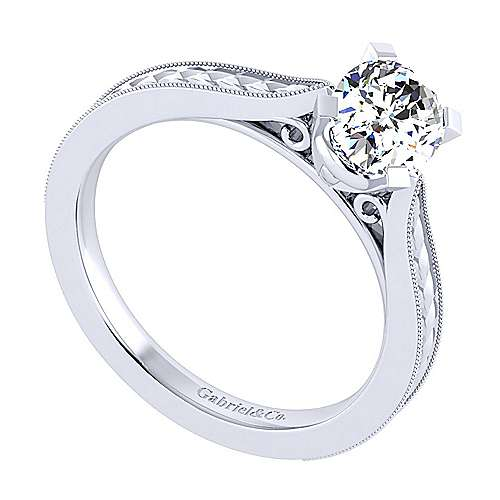 Cora 14k White Gold Oval Straight Engagement Ring angle 3