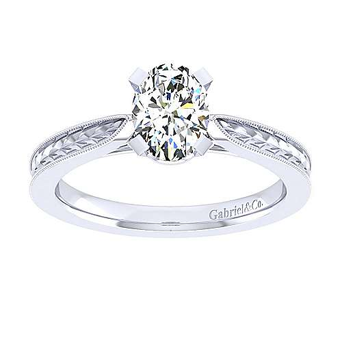 Cora 14k White Gold Oval Straight Engagement Ring angle 5