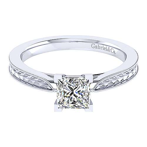 Gabriel - Cora 14k White Gold Princess Cut Straight Engagement Ring