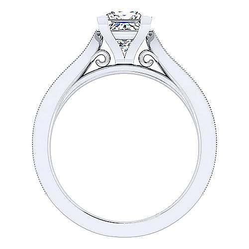 Cora 14k White Gold Princess Cut Straight Engagement Ring angle 2