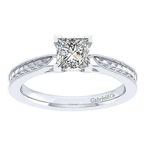 Cora 14k White Gold Princess Cut Straight Engagement Ring angle 5
