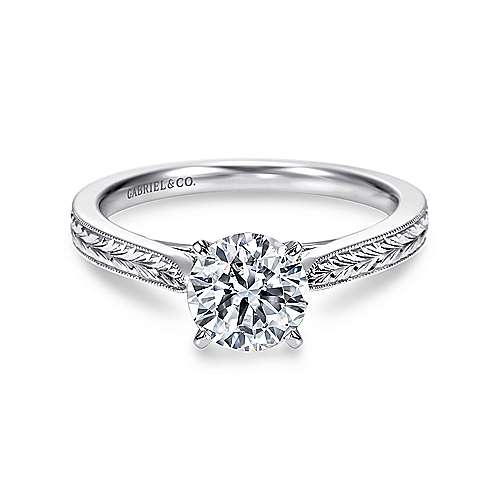 Gabriel - Cora Platinum Round Straight Engagement Ring