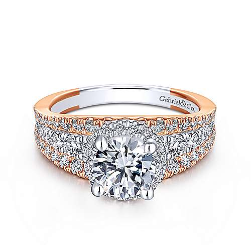 Gabriel - Corbin 18k White And Rose Gold Round Halo Engagement Ring