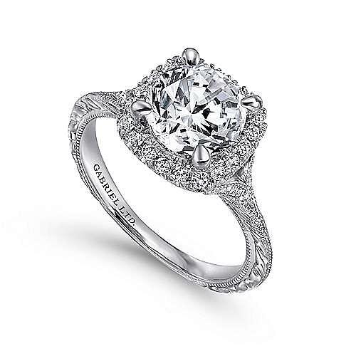 Cordula 18k White Gold Round Halo Engagement Ring angle 3