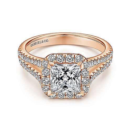 Gabriel - Corinna 14k Rose Gold Princess Cut Halo Engagement Ring