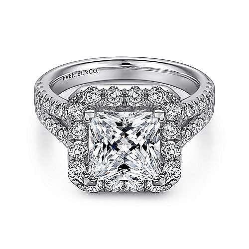 Gabriel - Corinna 14k White Gold Princess Cut Halo Engagement Ring