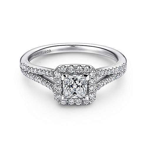 Corinna 14k White Gold Princess Cut Halo Engagement Ring angle 1
