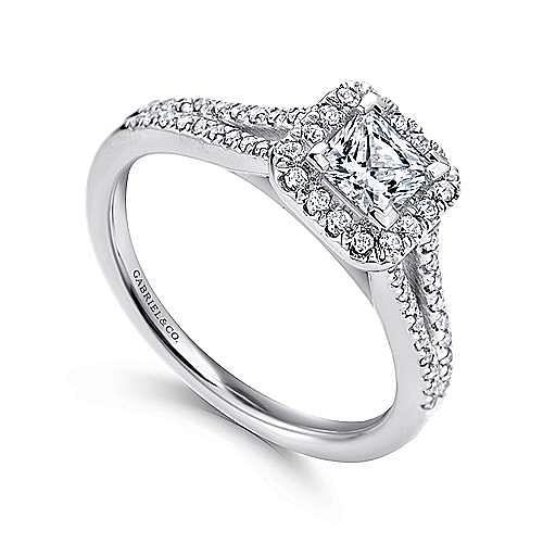 Corinna 14k White Gold Princess Cut Halo Engagement Ring angle 3