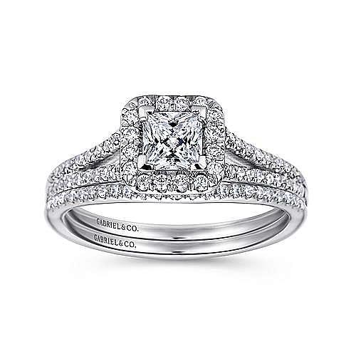 Corinna 14k White Gold Princess Cut Halo Engagement Ring angle 4