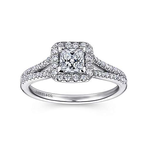 Corinna 14k White Gold Princess Cut Halo Engagement Ring angle 5
