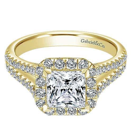 Corinna 14k Yellow Gold Princess Cut Halo Engagement Ring angle 1