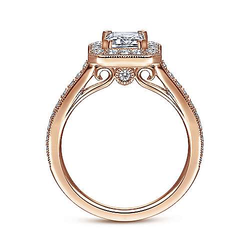 Corinne 14k Rose Gold Emerald Cut Halo Engagement Ring angle 2