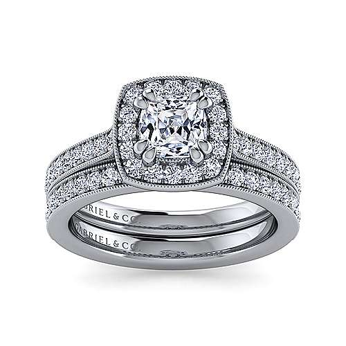 Corinne 14k White Gold Cushion Cut Halo Engagement Ring