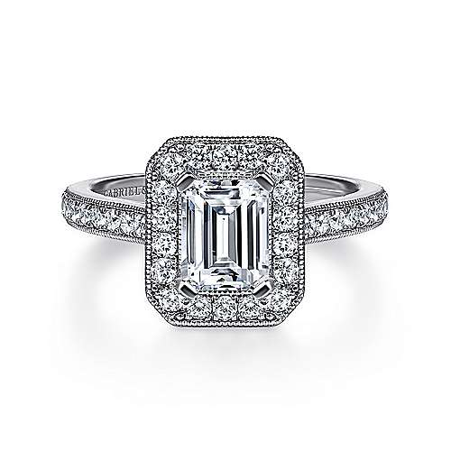 Corinne 14k White Gold Emerald Cut Halo Engagement Ring