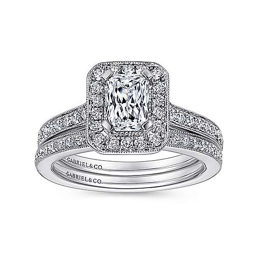 Corinne 14k White Gold Emerald Cut Halo Engagement Ring angle 4