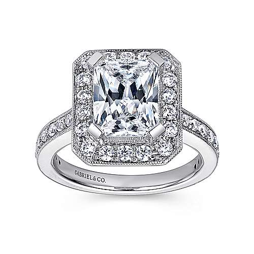 Corinne 14k White Gold Emerald Cut Halo Engagement Ring angle 5