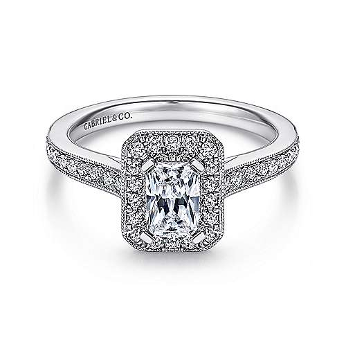 Gabriel - Corinne 14k White Gold Emerald Cut Halo Engagement Ring