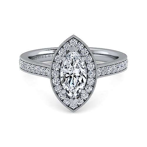 Gabriel - Corinne 14k White Gold Marquise  Halo Engagement Ring