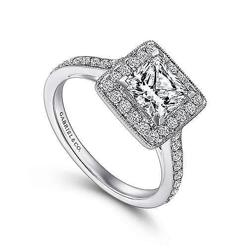 Corinne 14k White Gold Princess Cut Halo Engagement Ring angle 3