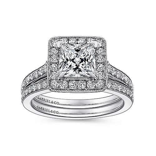 Corinne 14k White Gold Princess Cut Halo Engagement Ring angle 4