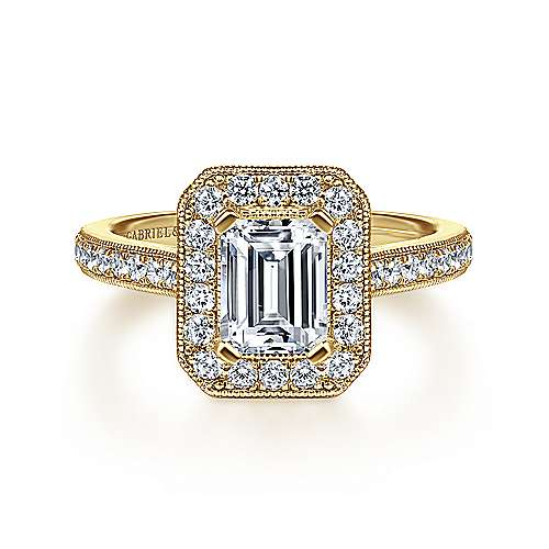 Gabriel - Corinne 14k Yellow Gold Emerald Cut Halo Engagement Ring