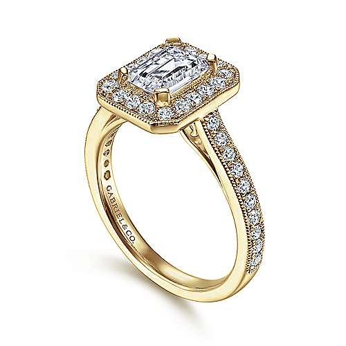 Corinne 14k Yellow Gold Emerald Cut Halo Engagement Ring angle 3