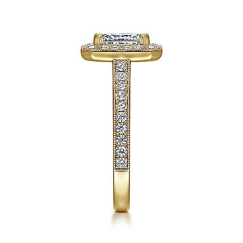 Corinne 14k Yellow Gold Emerald Cut Halo Engagement Ring angle 5