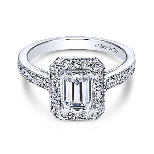 Gabriel - Corinne 18k White Gold Emerald Cut Halo Engagement Ring