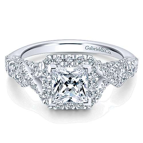 Gabriel - Corinthia 14k White Gold Princess Cut Halo Engagement Ring