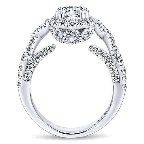 Corinthia 14k White Gold Round Halo Engagement Ring angle 2